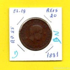 Monedas antiguas de Europa: REPUBLICA PORTUGUESA 20 REIS 1891 REY D. CARLOS I.° - [D - DN]. Lote 147760858