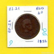 Monedas antiguas de Europa: REPUBLICA PORTUGUESA 20 REIS 1892 REY D. CARLOS I.° - [D - DO]. Lote 147761594