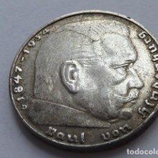 Monedas antiguas de Europa: MONEDA DE PLATA 2 MARCOS 1938 CECA D, MUNICH, ALEMANIA NAZI, MARISCAL PAUL VON HINDENBURG. Lote 147891710