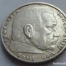 Monedas antiguas de Europa: MONEDA DE PLATA 2 MARCOS 1938 CECA A, BERLIN, ALEMANIA NAZI, MARISCAL PAUL VON HINDENBURG. Lote 147892866
