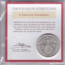 Monedas antiguas de Europa: MONEDA DE PLATA DE ALEMANIA DE 5 REICHSMARK DEL AÑO 1938 LETRA A CON CERTIFICADO DE AUTENTICIDAD - . Lote 148051694
