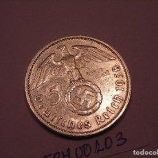 Monedas antiguas de Europa: MONEDA CIRCULADA DE 5 REICH MARK DE PLATA.1938 E. (LA MÁS ESCASA). Lote 149466926