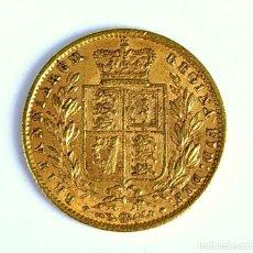 Monedas antiguas de Europa: SHIELD DE LA REINA VICTORIA. ORO 22 KT. INGLATERRA 1861. Lote 149842738