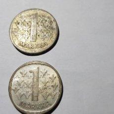 Monedas antiguas de Europa: FINLANDIA LOTE DOS MONEDAS 1 MARCO PLATA 1965 Y 1966. Lote 149883406