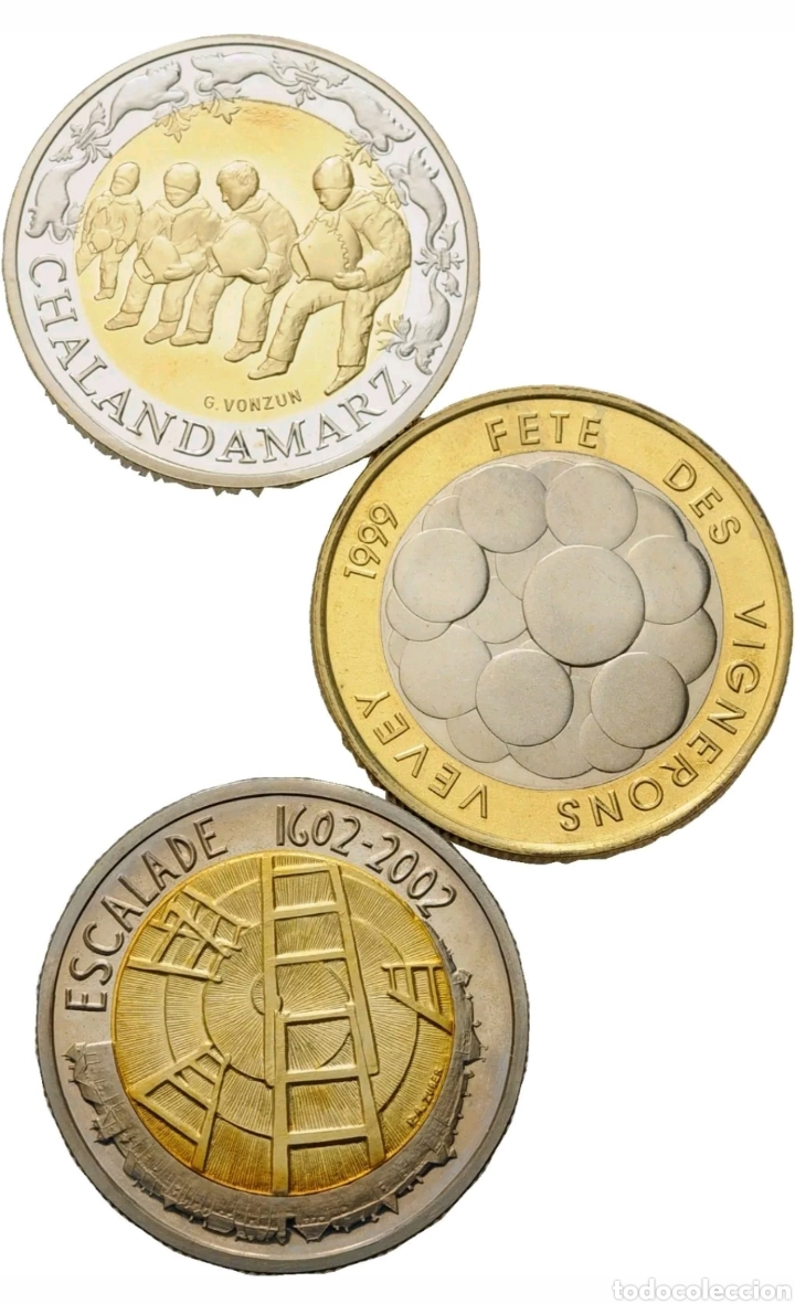 3 MONEDAD SUIZA 5 FRANCOS BIMETALICAS (Numismática - Extranjeras - Europa)
