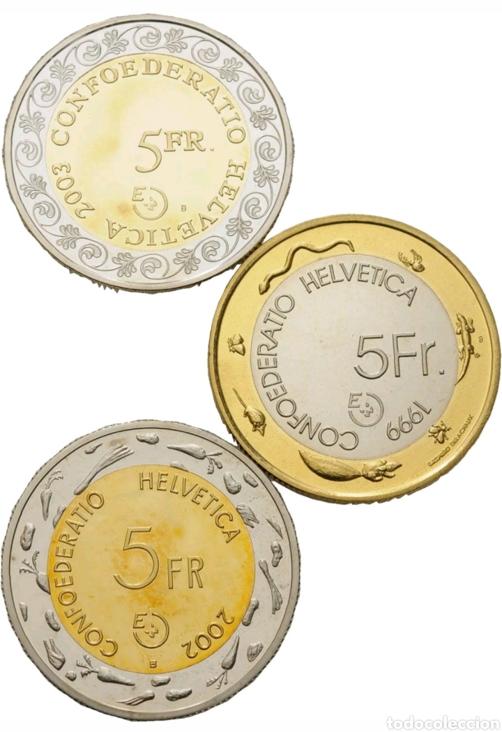 Monedas antiguas de Europa: 3 monedad Suiza 5 francos Bimetalicas - Foto 2 - 150943252