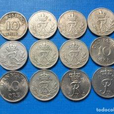 Monedas antiguas de Europa: X-106 ) DINAMARCA,,12 MONEDAS DE 10 ORE TODAS DISTINTAS FECHAS,,. Lote 126083022