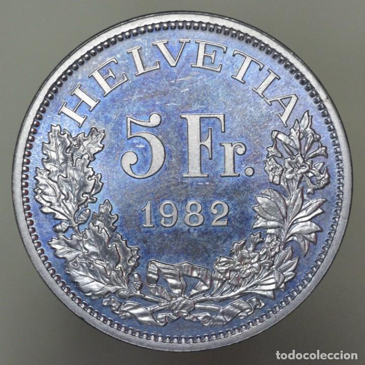 5 FRANCOS SUIZA 1982 GOTTHARDUS PROOF (Numismática - Extranjeras - Europa)