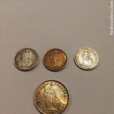 Monedas antiguas de Europa: 4 MONEDAS DE SUIZA DE PLATA. Lote 152335173