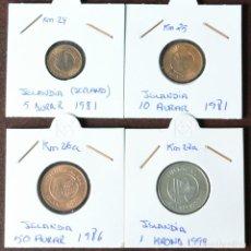 Monedas antiguas de Europa: LOTE 4 MONEDAS ISLANDIA - PRACTICAMENTE SC . Lote 152590262