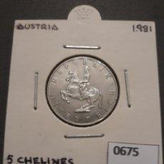 Monedas antiguas de Europa: AUSTRIA 5 CHELINES 1981. Lote 152836610