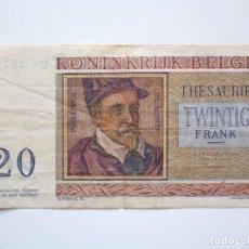 Monedas antiguas de Europa: BILLETE BELGICA 20 FRANCS 1956. Lote 153126102