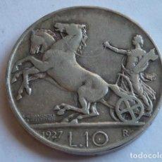 Monedas antiguas de Europa: MONEDA DE PLATA DE 10 LIRAS DE 1927 DE ITALIA, MODELO CUADRIGA, VITTORIO EMANUELE III. Lote 154687294