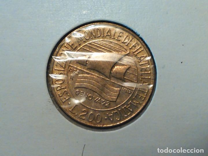 MONEDA ITALIA 200 LIRAS MELLADA GENOVA 92 (Numismática - Extranjeras - Europa)