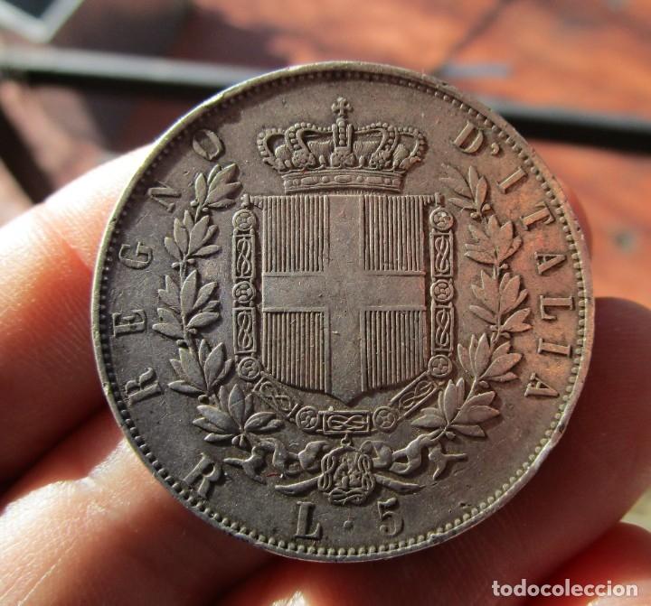 Monedas antiguas de Europa: VITTORIO EMANUELE . 5 LIRAS DE PLATA ANTIGUAS . TAMAÑO GRANDE - Foto 2 - 155241872
