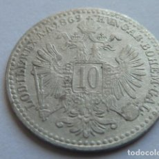 Monedas antiguas de Europa: MONEDA D PLATA DE 10 KREUZER DE 1869, DE FRANCISCO JOSE I EMPERADOR DE AUSTRIA Y HUNGRIA . Lote 155494146