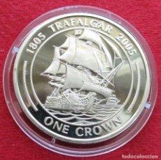 Monedas antiguas de Europa: GIBRALTAR 1 CROWN 2005 TRAFALGAR VELERO. Lote 155494290