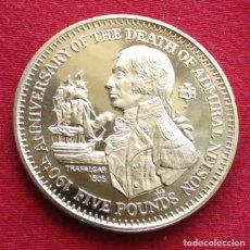 Monedas antiguas de Europa: GIBRALTAR 5 LIBRA 1995 NELSON TRAFALGAR VELERO. Lote 155495494