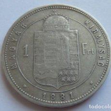 Monedas antiguas de Europa: ESCASA MONEDA PLATA 1 FLORIN IMPERIO HUNGRIA DE 1881 EMPERADOR FRANCISCO JOSE I. Lote 155496098