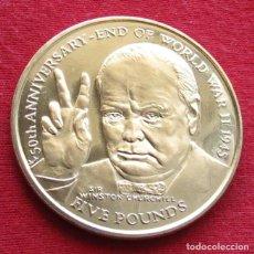 Monedas antiguas de Europa: MAN 5 LIBRA 1995 CHURCHILL. Lote 155517958