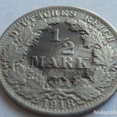 Monedas antiguas de Europa: MONEDA DE PLATA DE 1/2 MARCO DE ALEMANIA DE 1918, CECA A DE BERLIN, 2 IMPERIO ALEMAN. Lote 155689286