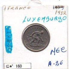 Monedas antiguas de Europa: MEC - LUXEMBOURG / 1 FRANC 1952 / - A26. Lote 155691002