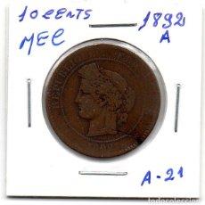 Monedas antiguas de Europa: MEC - REPUBLICA FRANCESA / 10 CENTIMES 1892A / - A21. Lote 155693334