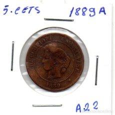 Monedas antiguas de Europa: MEC - REPUBLICA FRANCESA / 5 CENTIMES 1889A / - A22. Lote 155693670