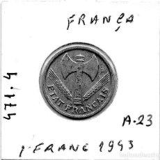 Monedas antiguas de Europa: MEC - REPUBLICA FRANCESA / 1 FRANC 1942 / ALUMINIO - A23. Lote 155694202