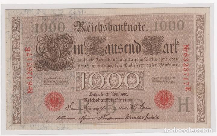 BONITO BILLETE ALEMANIA (BERLIN)1000 MARK 21-ABRIL-1910 SERIE EN ROJO Nº 6326717E . S/C (Numismática - Extranjeras - Europa)
