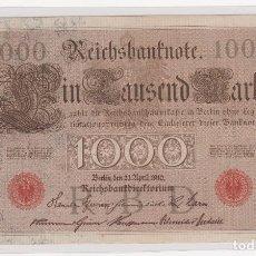 Monedas antiguas de Europa: BONITO BILLETE ALEMANIA (BERLIN)1000 MARK 21-ABRIL-1910 SERIE EN ROJO Nº 6326717E . S/C. Lote 155694438