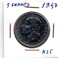 Monedas antiguas de Europa: MEC - REPUBLICA FRANCESA / 5 FRANCS 1947 / ALUMINIO - A25. Lote 155694574