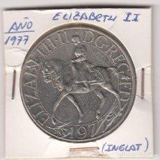 Monedas antiguas de Europa: MEDALLA MONEDA (PLATEADA)CONMEMORATIVA 1977 DE LA REINA ELIZABETH II DE INGLATERRA 28,5GR-38MM . S/C. Lote 155696670