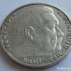 Monedas antiguas de Europa: MONEDA DE PLATA 2 MARCOS 1939 A, CECA DE BERLIN, ALEMANIA NAZI, MARISCAL PAUL VON HINDENBURG . Lote 155745294