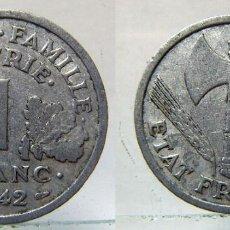 Monedas antiguas de Europa: MONEDA DE FRANCIA 1 FRANCO 1942 ALUMINIO. Lote 155778122