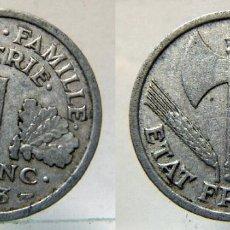 Monedas antiguas de Europa: MONEDA DE FRANCIA 1 FRANCO 1943 ALUMINIO. Lote 155778406
