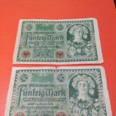 Monedas antiguas de Europa: 2 BILLETES DE 50 MARCOS, CON NUMERACIÓN CORRELATIVA, EMISIÓN BERLÍN 23 JULIO DE 1920.. Lote 156113542