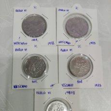 Monedas antiguas de Europa: LOTE 5 MONEDAS VATICANO. SIN CIRCULAR. PABLO VI. Lote 157123244