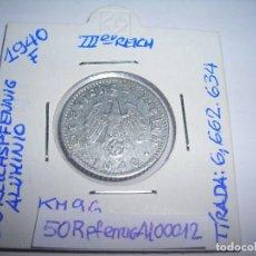 Monedas antiguas de Europa: MONEDA CIRCULADA DE 50 REICHSPFENNIG DE ALUMINIO 1940 F.. Lote 158961198