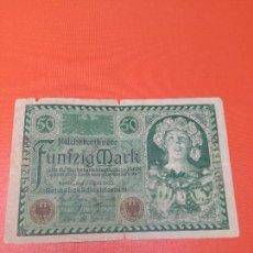 Monedas antiguas de Europa: 1 BILLETE DE 50 MARCOS, EMISIÓN BERLÍN 23 JULIO DE 1920.. Lote 156114482