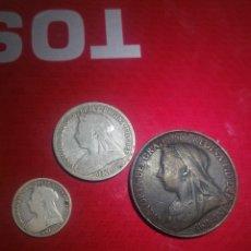 Monedas antiguas de Europa: LOTE DE MONEDAS DE 1 CHELIN, 3 PENIQUES Y 1 PENIQUE REINA VICTORIA SIGLO XIX. Lote 159302530