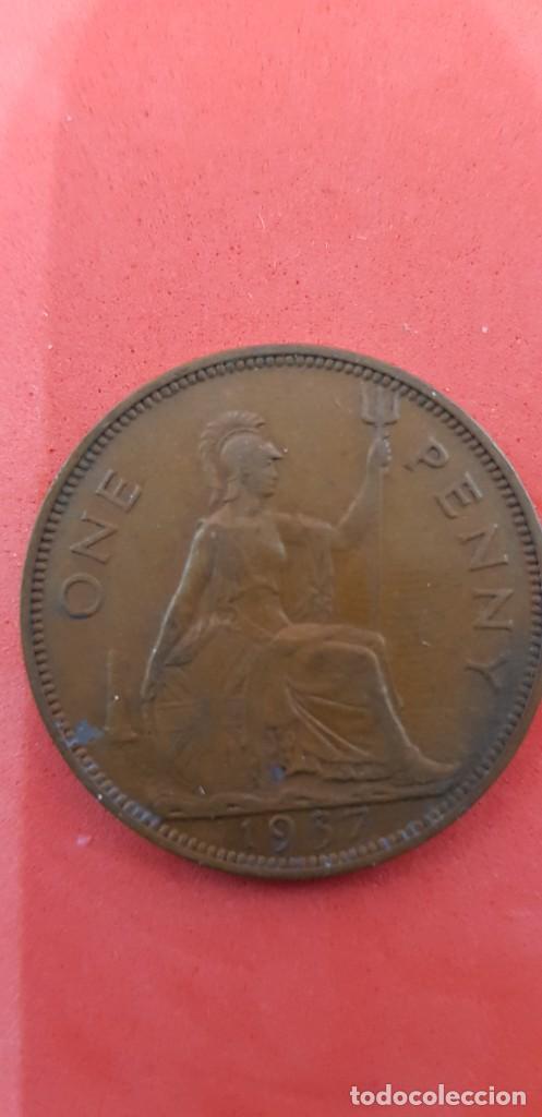Monedas antiguas de Europa: ONE PENNY JORGE VI BRONCE 1937 - Foto 2 - 159573910