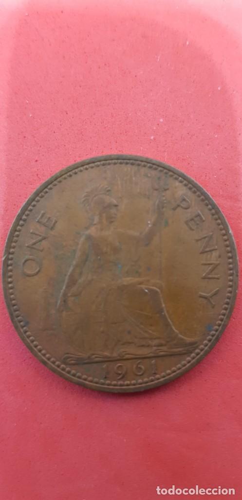 Monedas antiguas de Europa: ONE PENNY ELIZABETH II 1961 - Foto 2 - 159658662