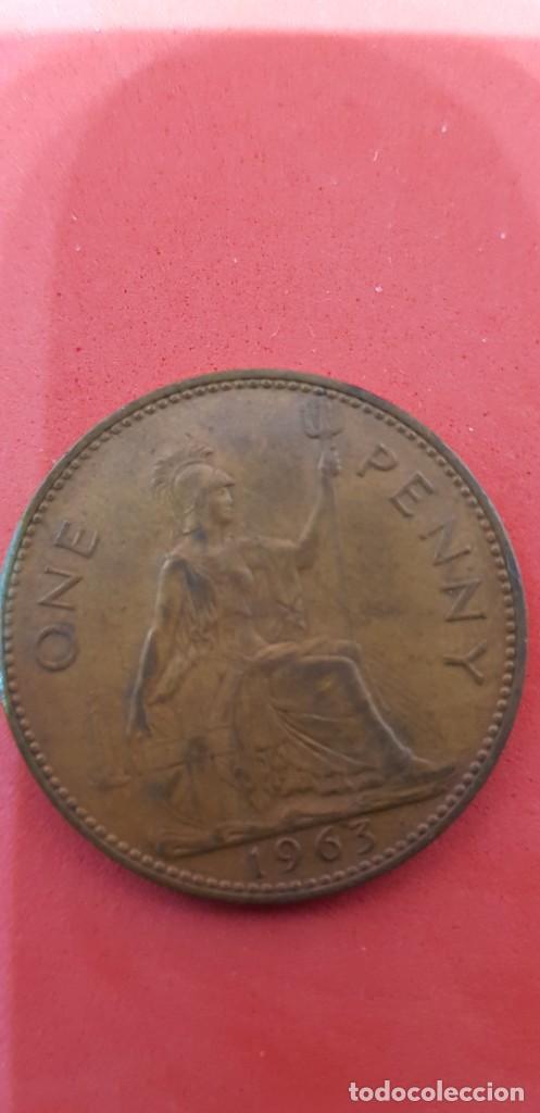 Monedas antiguas de Europa: ONE PENNY ELIZABETH II 1963 - Foto 2 - 159659146