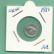 Moedas antigas da Europa: PLATA-HOLANDA 10 CENT 1937. 1,4 GRAMOS DE LEY 0,640. Lote 159699182