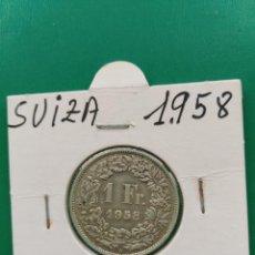 Monedas antiguas de Europa: MONEDA DE 1 FRANCO SUIZA PLATA 1958. Lote 160362442
