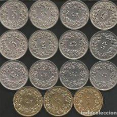 Monedas antiguas de Europa: SUIZA (VER AÑOS Y KM EN LA DESCRIPCION) - 5 RAPPEN - LOTE 15 MONEDAS CIRCULADAS. Lote 161306010