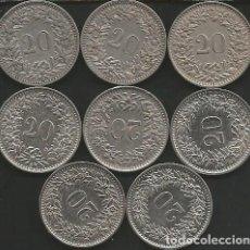 Monedas antiguas de Europa: SUIZA (VER AÑOS Y KM EN LA DESCRIPCION) - 20 RAPPEN - LOTE 8 MONEDAS CIRCULADAS. Lote 161306054