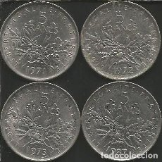 Monedas antiguas de Europa: FRANCIA (VER AÑOS EN DESCRIPCION) - 5 FRANCS - KM 926A.1 - LOTE 4 MONEDAS CIRCULADAS. Lote 161421414