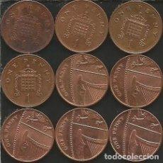 Monedas antiguas de Europa: REINO UNIDO (VER AÑOS EN DESCRIPCION) - 1 PENNY - KM VARIOS - LOTE DE 9 MONEDAS CIRCULADAS. Lote 161470942